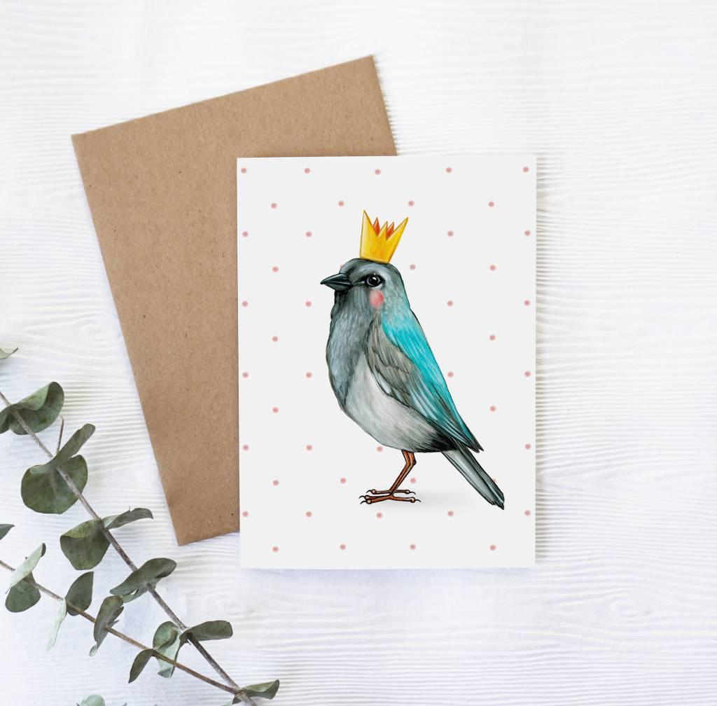 Joannie Houle Crowned Bird Greeting card