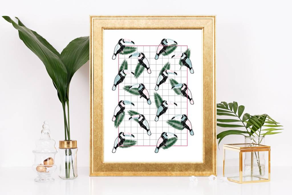 Fleur Maison Small Print – Mosaic Grid Toucan