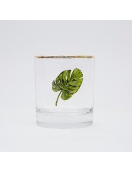 Drake General Store Palm Leaf  Bar Glass