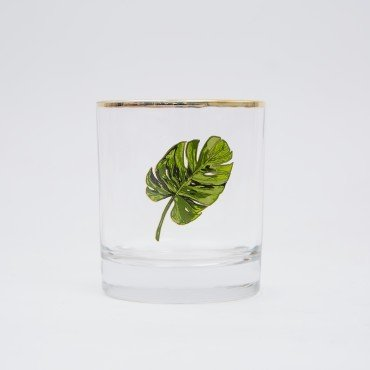 Drake General Store Palm Leaf  Bar Glass