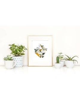 Fla Fla Diamond Flowers Print - 11x14