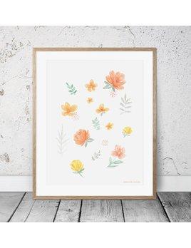 Joannie Houle Affiche 11x14 Motif Floral Pastel