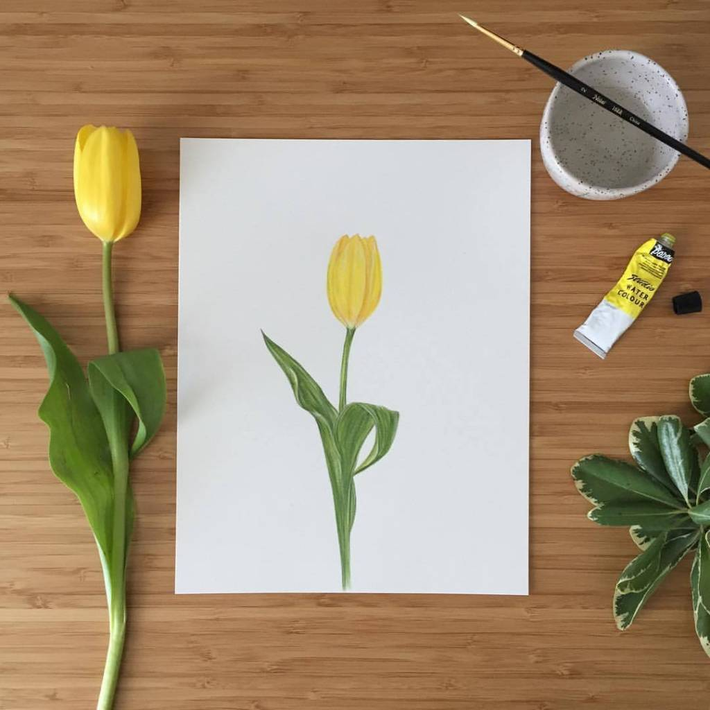 Joannie Houle Affiche 11x14 Tulipe Jaune