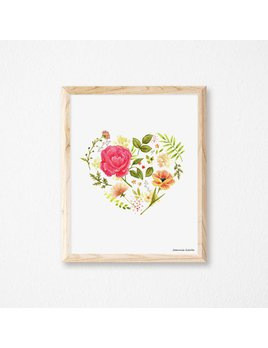 Joannie Houle Flowered Heart Poster 11x14