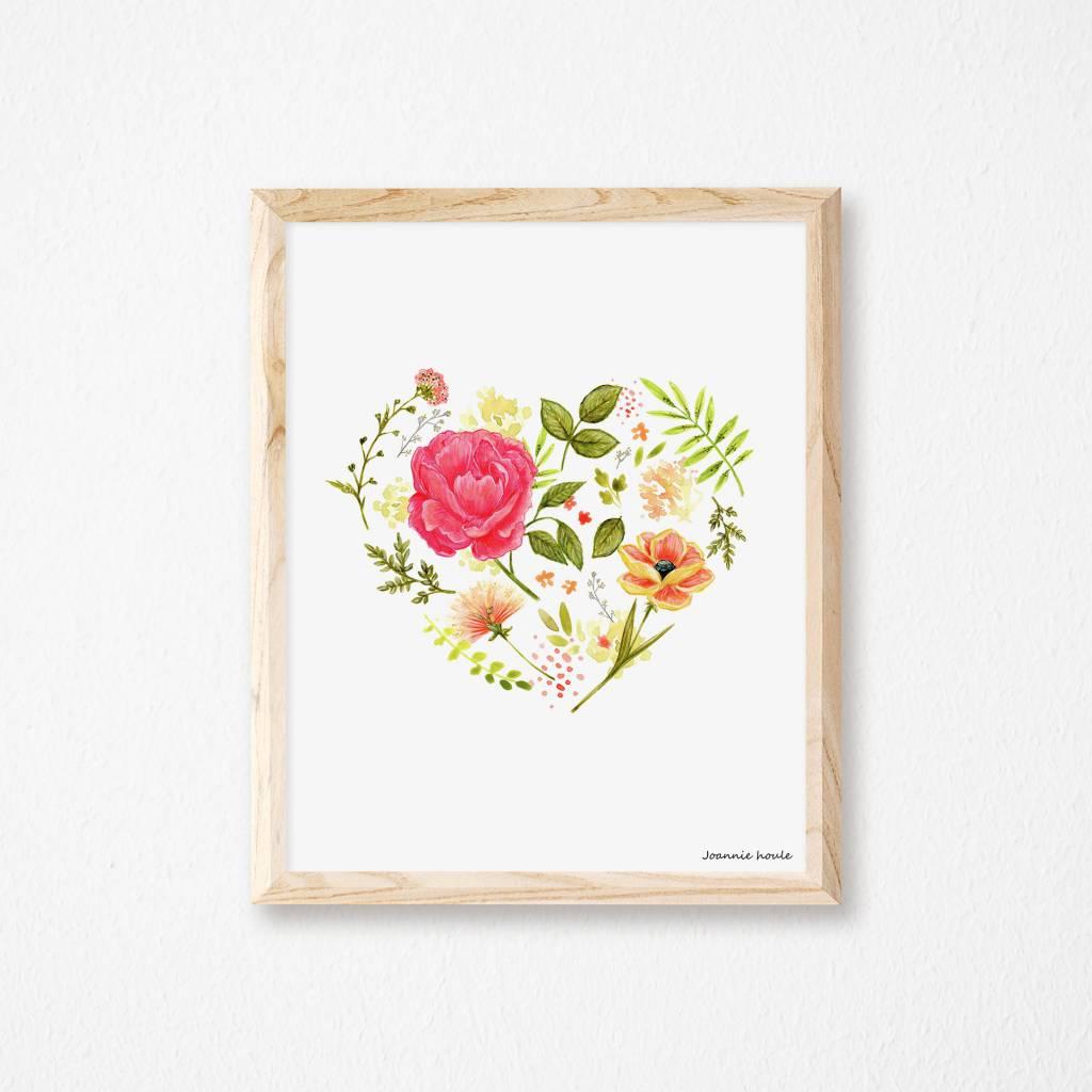 Joannie Houle Flowered Heart Poster 11x14