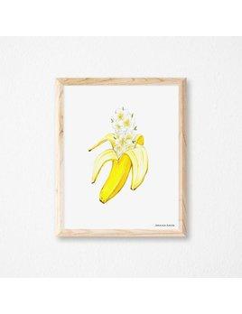 Joannie Houle Affiche Banane à Fleurs 11x14