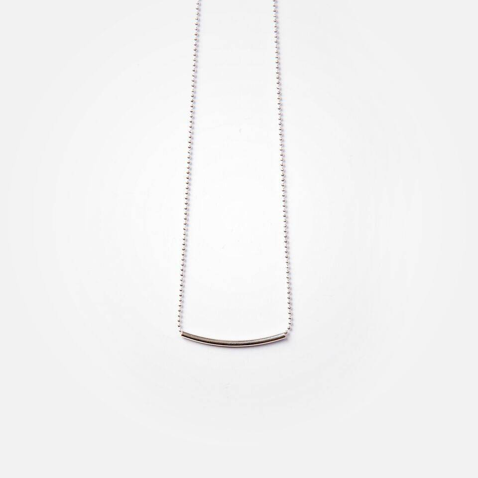 Si Simple Silver Long Cate Necklace