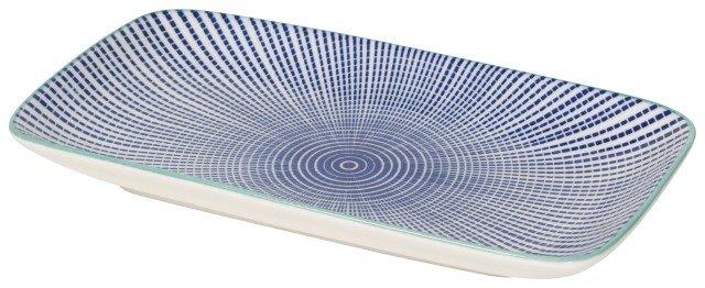Danica/Now Assiette Rectangulaire Lignes Bleus