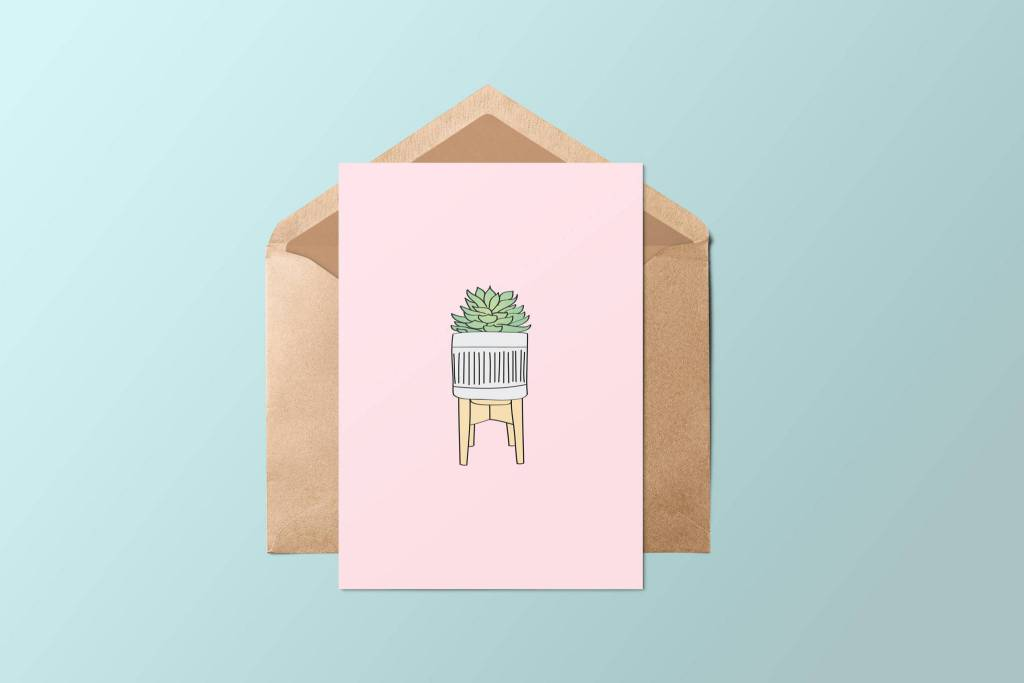 Fleur Maison Carte de souhaits - Succulente Rose