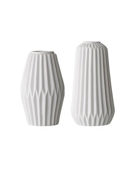 Bloomingville Medium White Fluted Vase