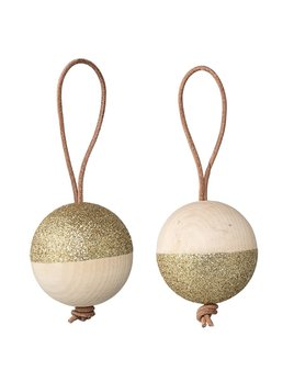 Bloomingville Wood Ornament Gold Glitter