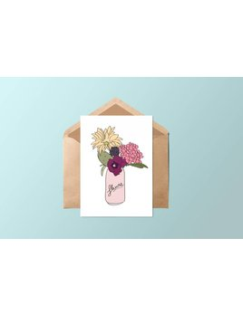 Fleur Maison Carte - Canette de fleurs