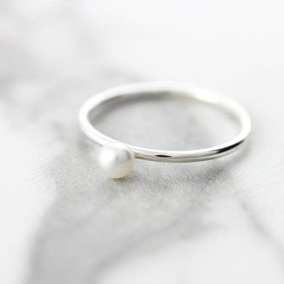 Le Cubicule White Pearl Silver Ring