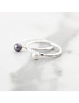 Le Cubicule Bague Perle Noire Argent