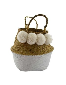 Nostalgia White Pompoms Basket