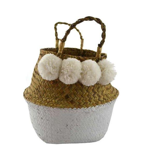 Nostalgia White Pompoms Basket