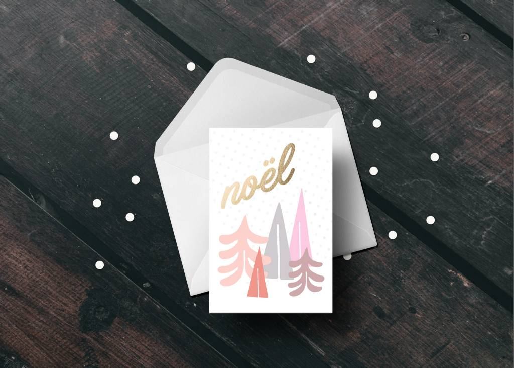 Toffie Pink Trees Xmas Card