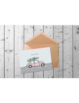 Fleur Maison Chrsitmas Car Greeting Card
