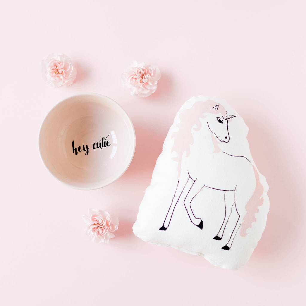 Sun and Stars Pink Unicorn Pillow