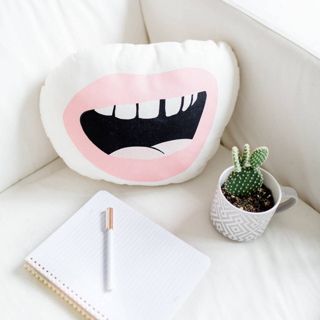 Sun and Stars Pink Mouth Cushion