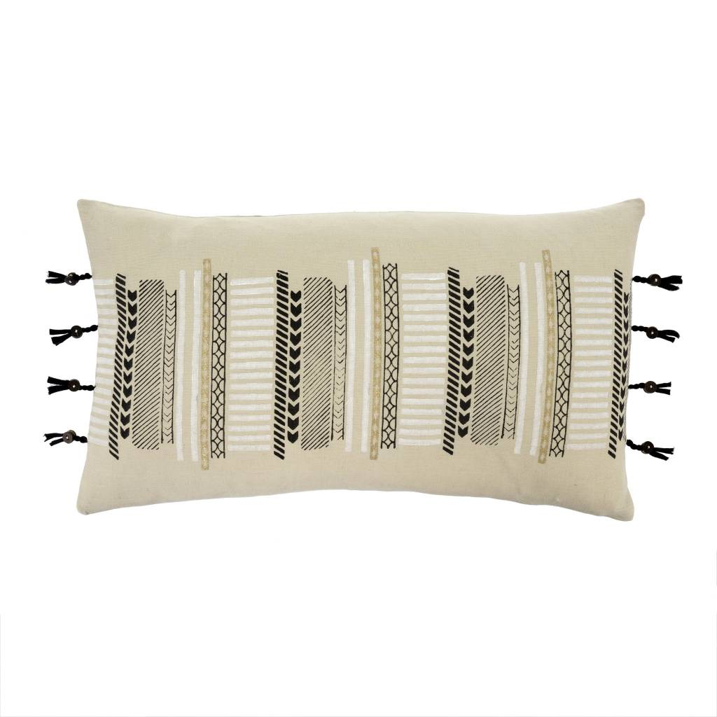 Indaba Fringes & Buttons Pillow
