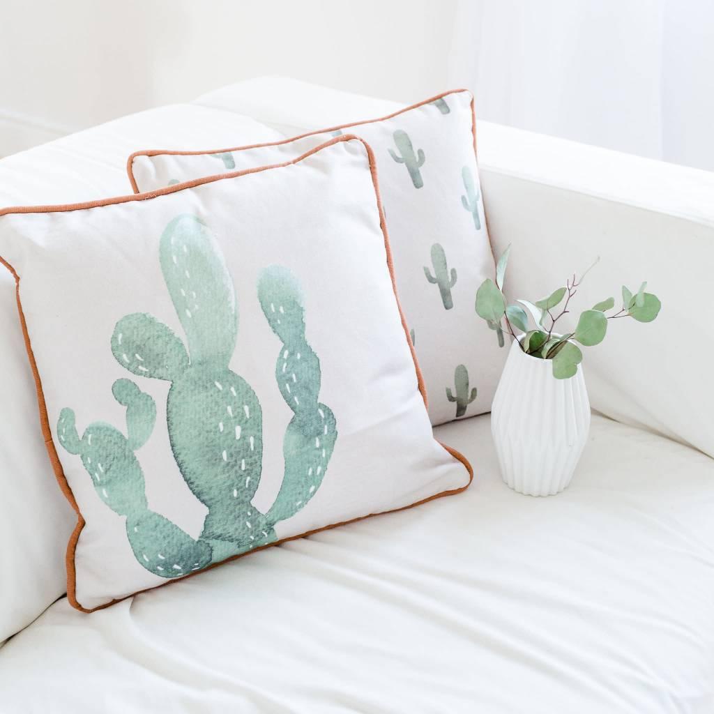 Bloomingville Red Trim Cactus Pillow