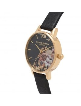 Olivia Burton Floral Black & Gold Watch