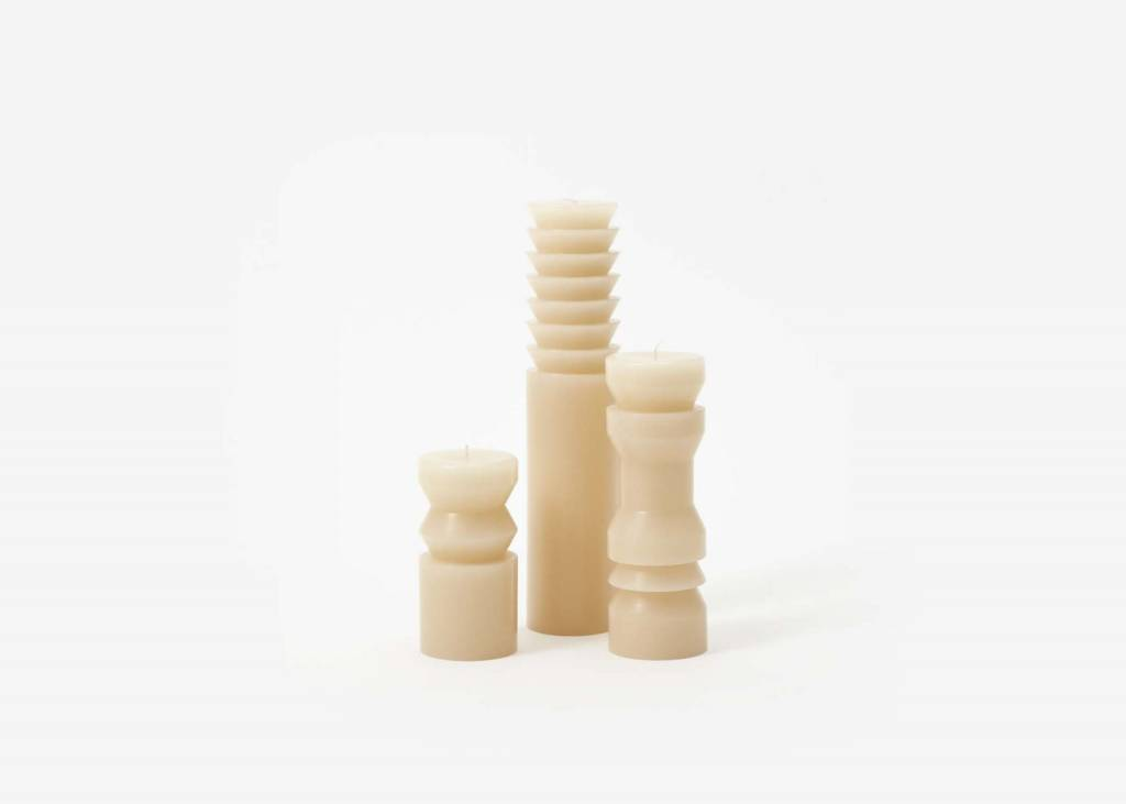 The Tate Group Beige Medium Totem Candle
