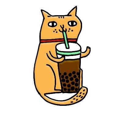 The Tate Group Cat & Bubble Tea Pin