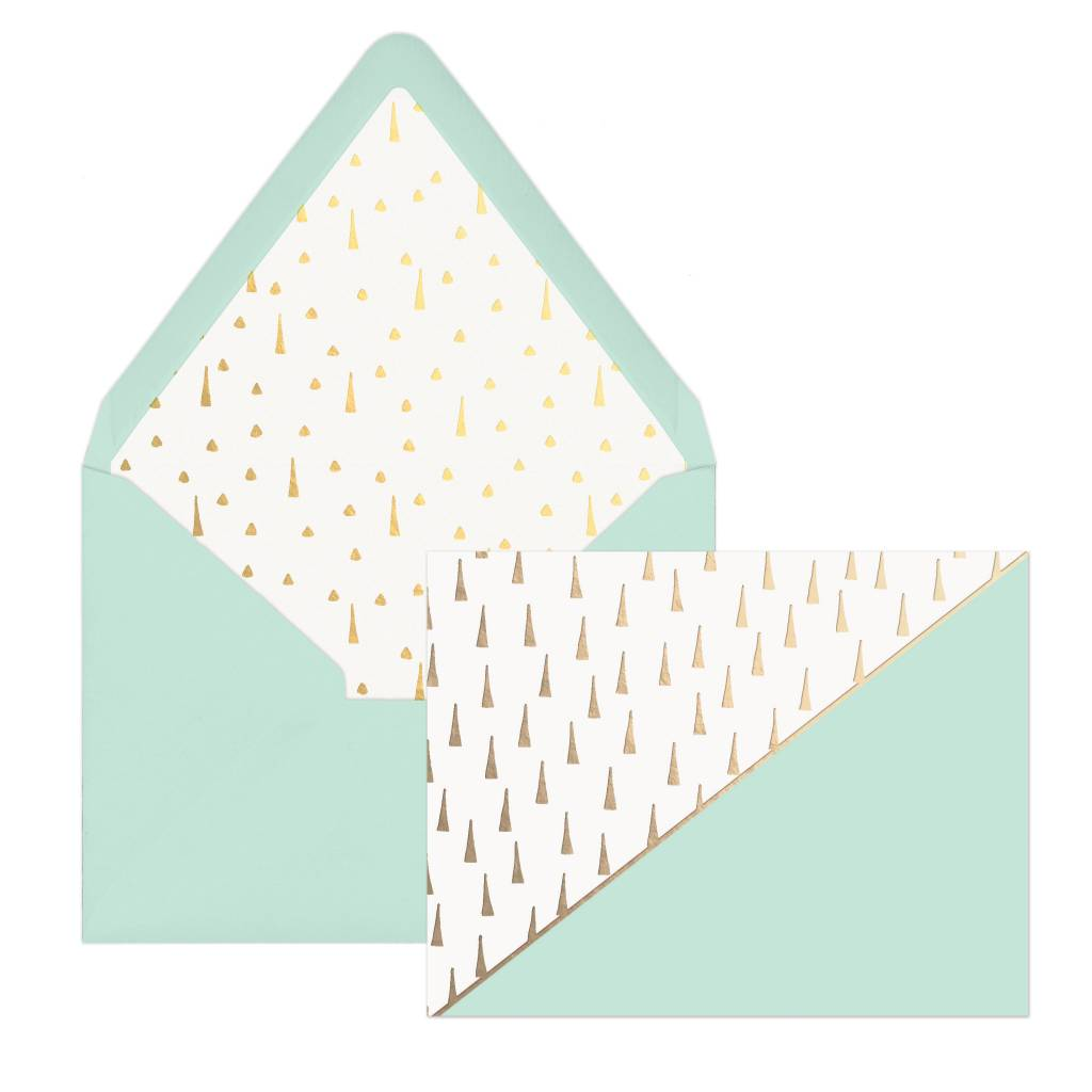 Designworks ink Gold Triangles Mint Cards - Box of 12