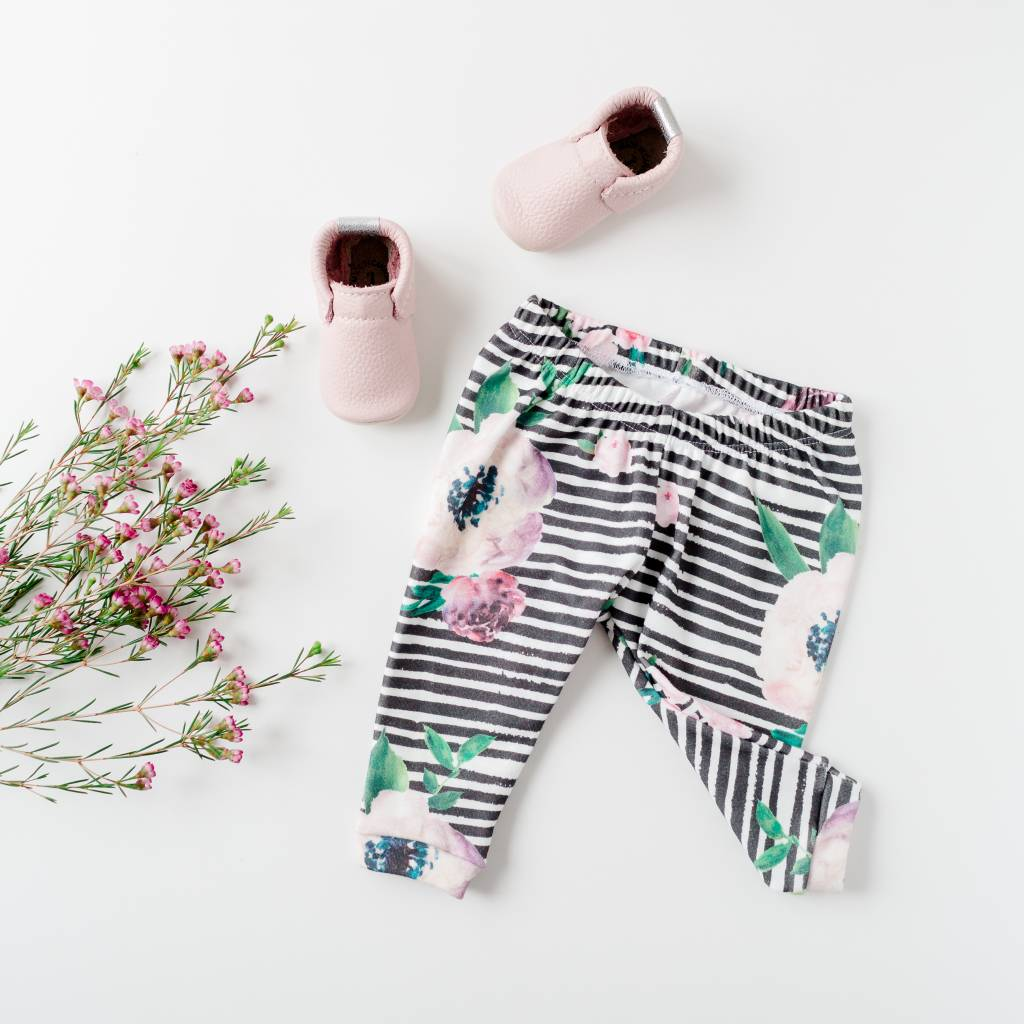 Wylo&Co Striped Floral Leggings