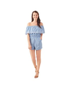 Mud Pie Juniper Chambray Ruffle Romper
