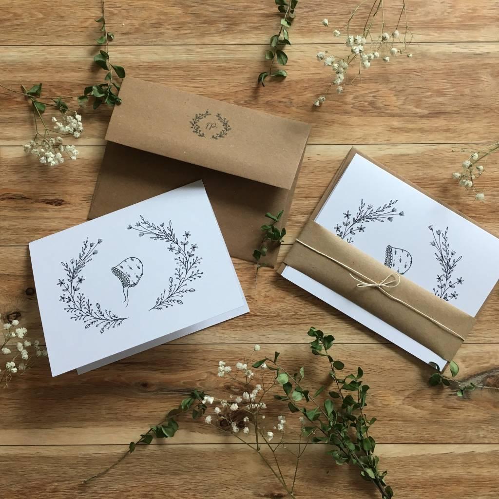 Natasha Prévost Illustrations Baby Bonnet Greeting Card