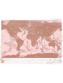 Jabco Carte du Monde à Gratter Or Rose