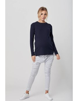Legoe Grey Stripes Loch Harem Pants
