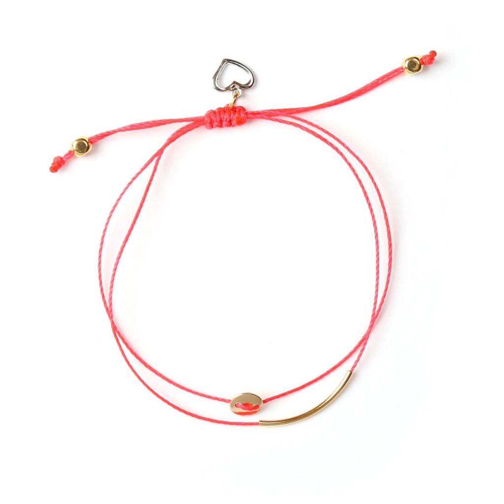 Si Simple Gold and Coral Luna Bracelet