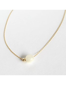 L'AUNE Collier Nacre Blanc Or