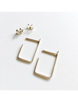 L'AUNE Boucles D'oreilles Rectangle Argent