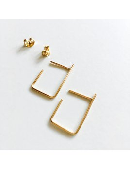 L'AUNE Gold Rectangle Earrings