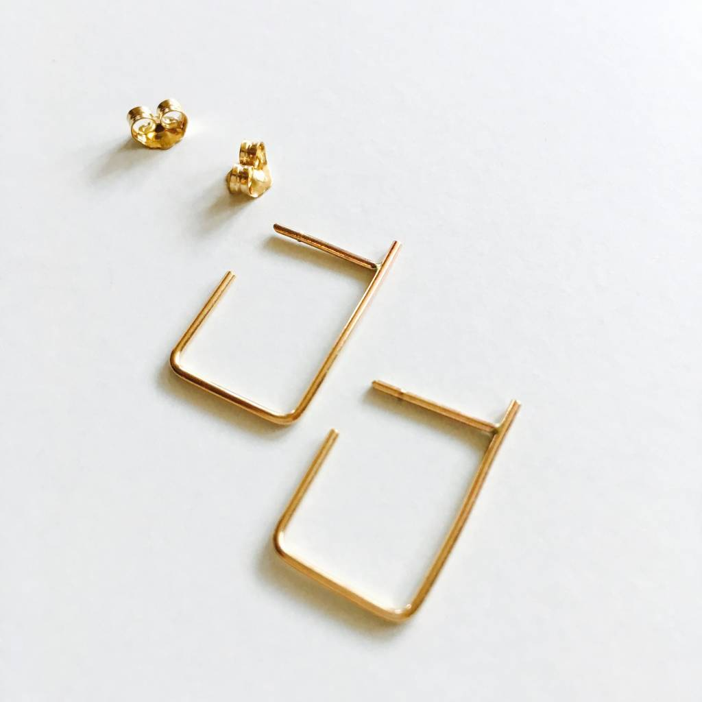 L'AUNE Boucles D'oreilles Rectangle Or