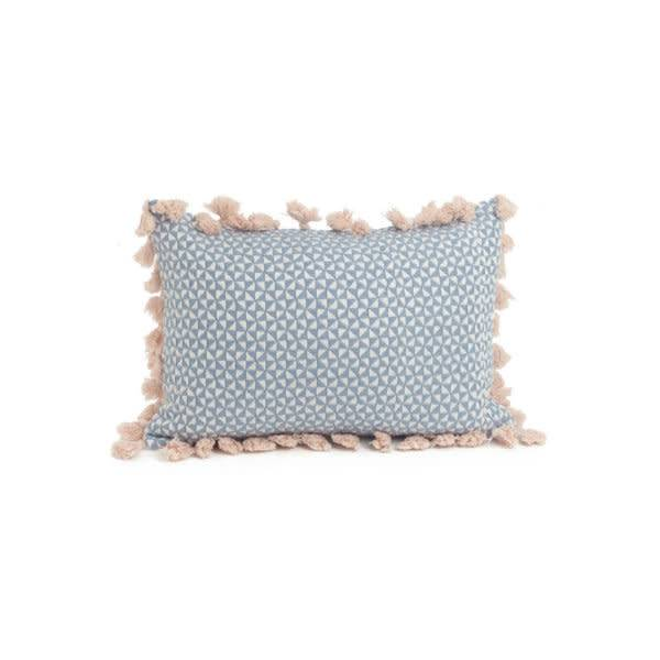 ADV Coussin Rectangle Bleu Pompon Rose