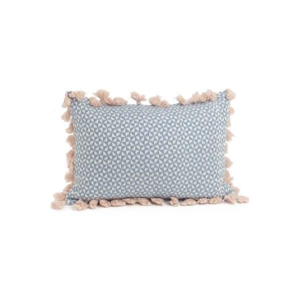 ADV Pink Tassels Blue Rectangle Pillow