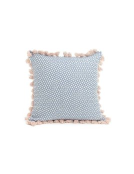 ADV Pink Tassels Blue Square Pillow