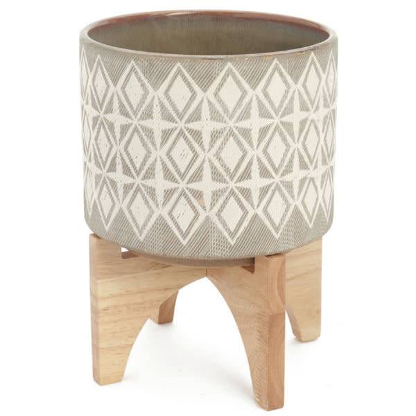 ADV Ceramic and Wood Planter