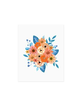 Paige and Willow Affiche Fleurs Bleues Orange