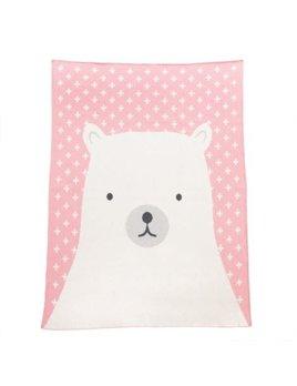 Indaba Swiss Bear Pink Baby Blanket