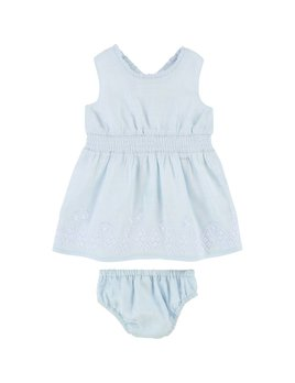 Carrément Beau Blue Embroidered Dress Set (Baby)