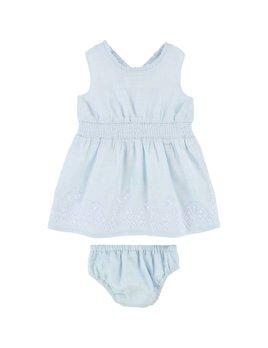 Carrément Beau Ensemble Robe Bleue Broderies (Enfant)