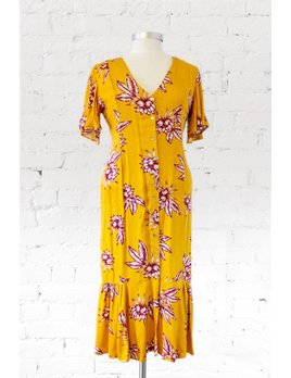 Somedays Lovin Yellow Floral Midi Dress