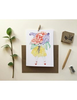 Katrinn Pelletier Illustration Carte Femme Fleuriste Lilas et Roses